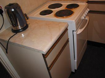 The electric kettle and the electric hob