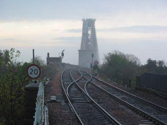 The rails leading from North Queensferry Station towards Forth Rail Bridge