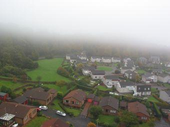 Fog falling on the town of North Queensferry